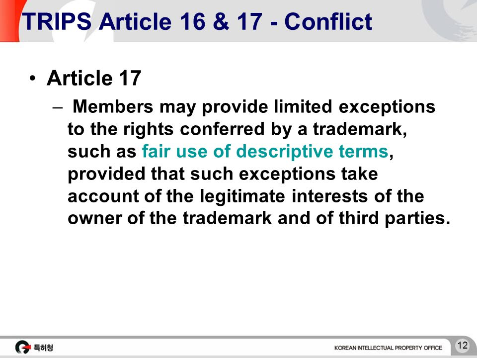 12 TRIPS Article 16 & 17 - Conflict Article 17 – Members may provide limited exceptions to the rights conferred by a trademark, such as fair use of de