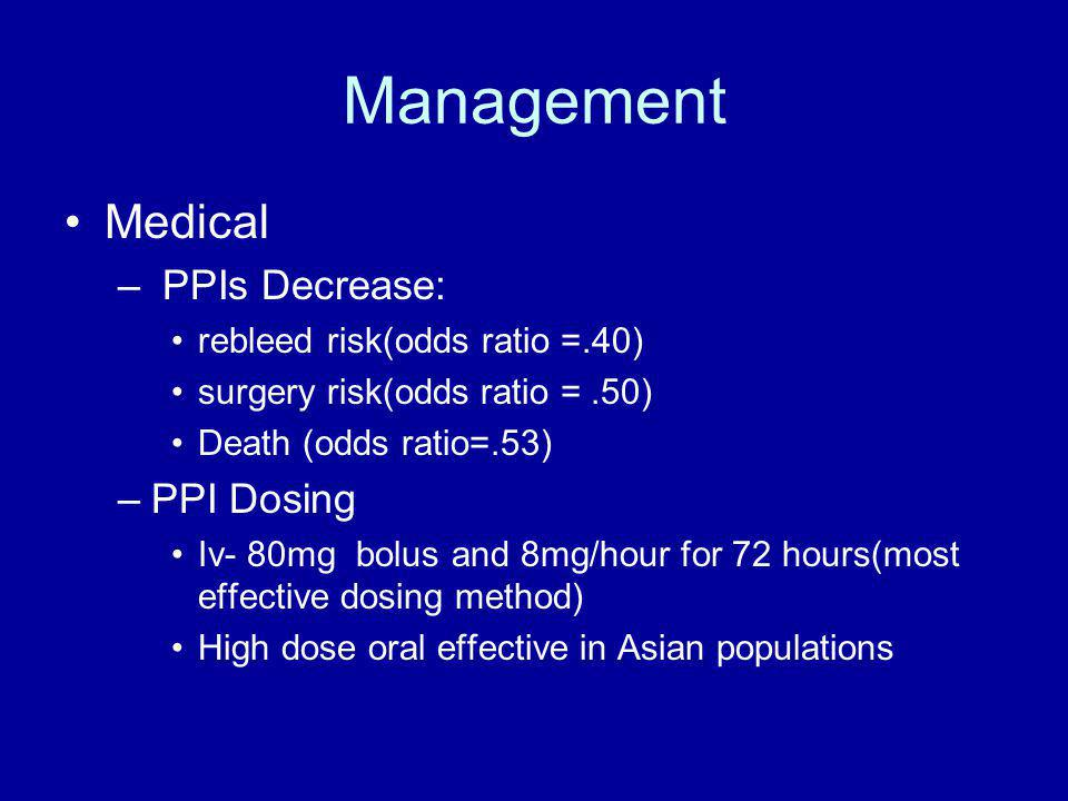 Management Medical –octreotide –Goal-pH >6.0 –H2RA- not effective –PPIs-very effective Endoscopic Surgical RX-much less common Interventional Radiology