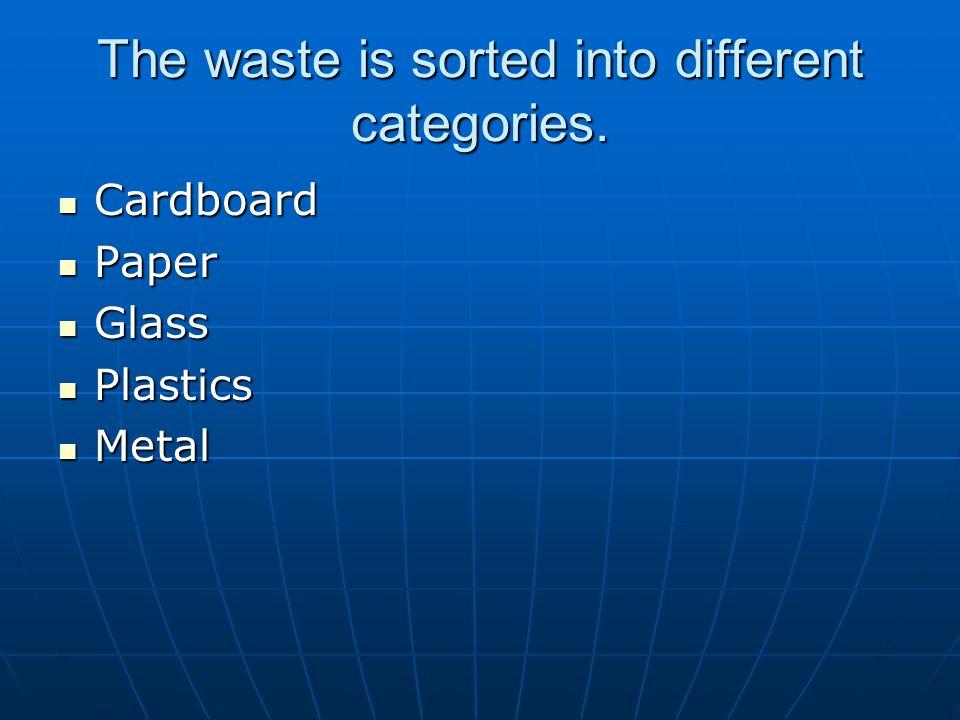 The waste is sorted into different categories. Cardboard Cardboard Paper Paper Glass Glass Plastics Plastics Metal Metal