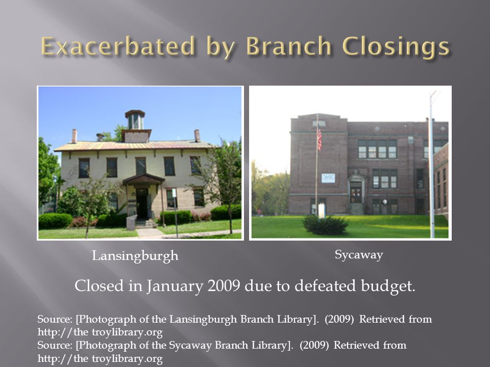 Lansingburgh Sycaway Closed in January 2009 due to defeated budget. Source: [Photograph of the Lansingburgh Branch Library]. (2009) Retrieved from htt