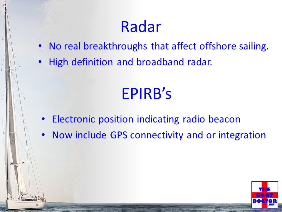 Radar No real breakthroughs that affect offshore sailing.