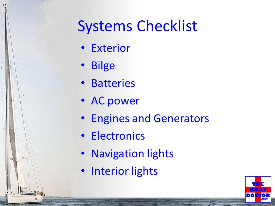 Delivery Checklist Hull Sails & Rigging Nav Lights & Shapes Safety Engine & Electrical Tools Charts & Navigation Paperwork Spares Recommended Items