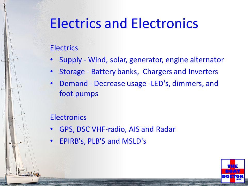 Electrics and Electronics Electrics Supply - Wind, solar, generator, engine alternator Storage - Battery banks, Chargers and Inverters Demand - Decrea