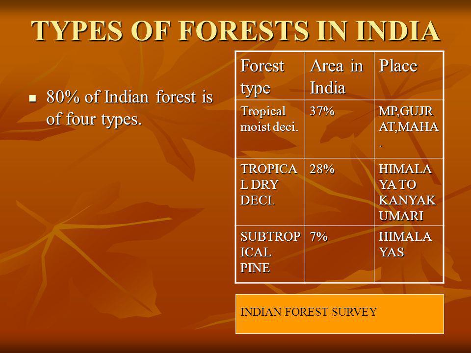 TYPES OF FORESTS IN INDIA 80% of Indian forest is of four types.