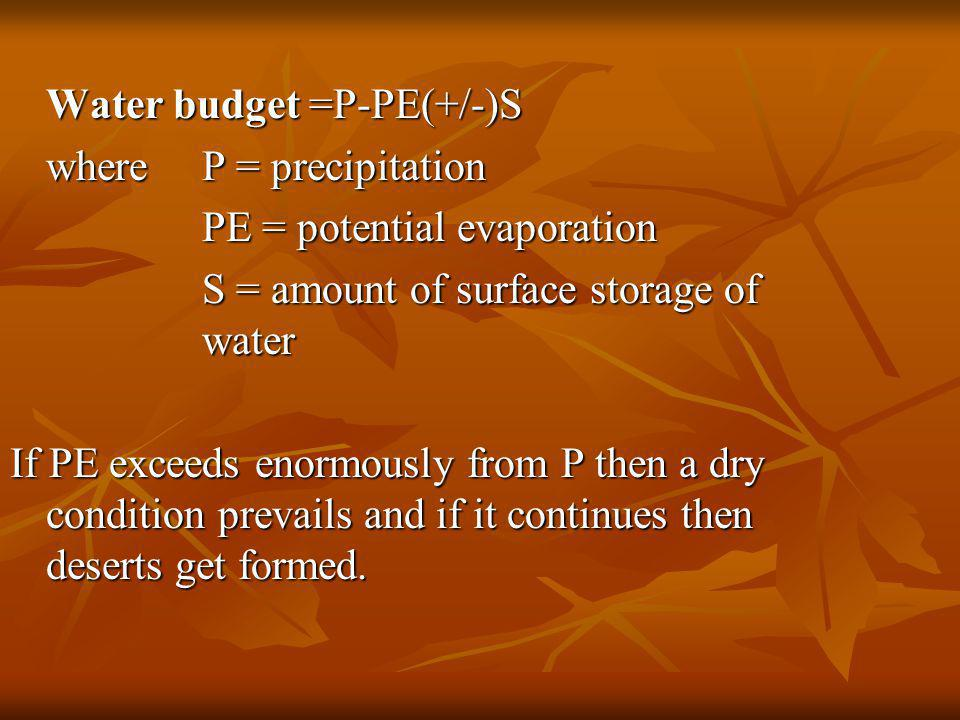 Water budget =P-PE(+/-)S where P = precipitation PE = potential evaporation PE = potential evaporation S = amount of surface storage of water If PE exceeds enormously from P then a dry condition prevails and if it continues then deserts get formed.