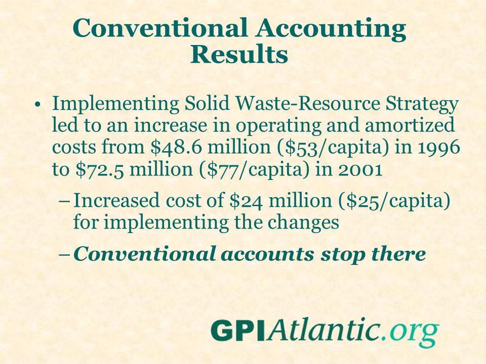 Conventional Accounting Results Implementing Solid Waste-Resource Strategy led to an increase in operating and amortized costs from $48.6 million ($53/capita) in 1996 to $72.5 million ($77/capita) in 2001 –Increased cost of $24 million ($25/capita) for implementing the changes –Conventional accounts stop there