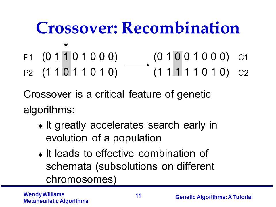 11 Wendy Williams Metaheuristic Algorithms Genetic Algorithms: A Tutorial Crossover: Recombination P1 (0 1 1 0 1 0 0 0) (0 1 0 0 1 0 0 0) C1 P2 (1 1 0