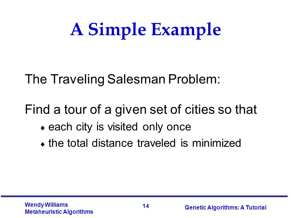 14 Wendy Williams Metaheuristic Algorithms Genetic Algorithms: A Tutorial A Simple Example The Traveling Salesman Problem: Find a tour of a given set