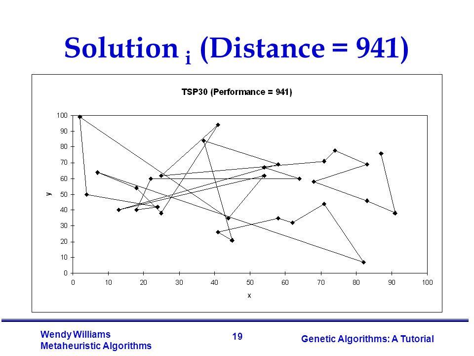 19 Wendy Williams Metaheuristic Algorithms Genetic Algorithms: A Tutorial Solution i (Distance = 941)