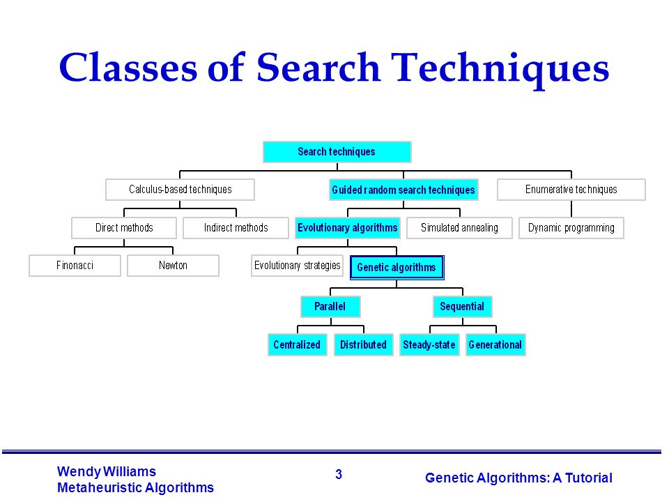 3 Wendy Williams Metaheuristic Algorithms Genetic Algorithms: A Tutorial Classes of Search Techniques