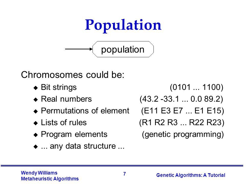 18 Wendy Williams Metaheuristic Algorithms Genetic Algorithms: A Tutorial TSP Example: 30 Cities
