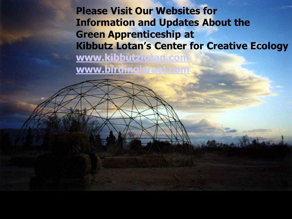 Please Visit Our Websites for Information and Updates About the Green Apprenticeship at Kibbutz Lotan's Center for Creative Ecology www.kibbutzlotan.com www.birdingisrael.com
