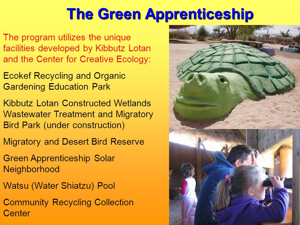 The Green Apprenticeship The program utilizes the unique facilities developed by Kibbutz Lotan and the Center for Creative Ecology: Ecokef Recycling and Organic Gardening Education Park Kibbutz Lotan Constructed Wetlands Wastewater Treatment and Migratory Bird Park (under construction) Migratory and Desert Bird Reserve Green Apprenticeship Solar Neighborhood Watsu (Water Shiatzu) Pool Community Recycling Collection Center