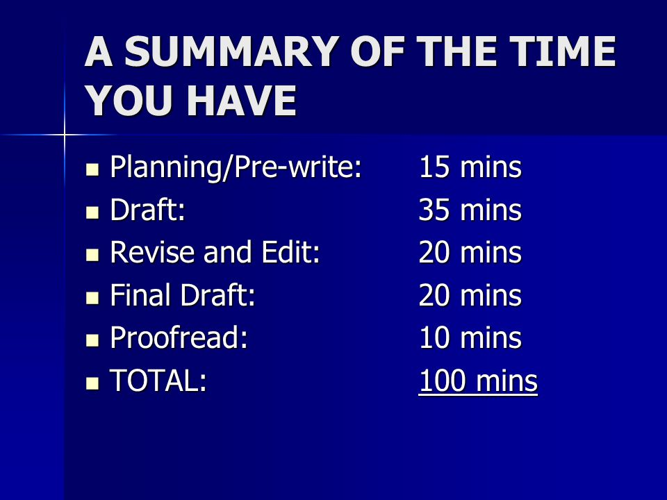 A SUMMARY OF THE TIME YOU HAVE Planning/Pre-write: 15 mins Planning/Pre-write: 15 mins Draft:35 mins Draft:35 mins Revise and Edit:20 mins Revise and Edit:20 mins Final Draft:20 mins Final Draft:20 mins Proofread:10 mins Proofread:10 mins TOTAL:100 mins TOTAL:100 mins