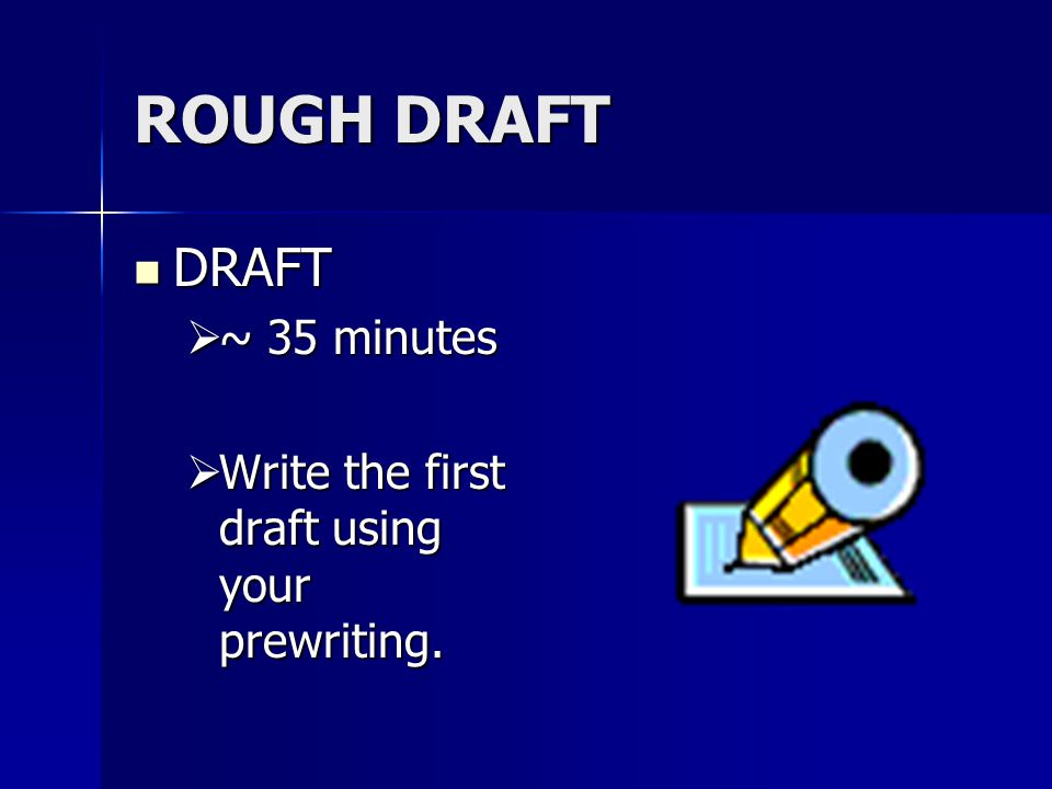 ROUGH DRAFT DRAFT DRAFT  ~ 35 minutes  Write the first draft using your prewriting.