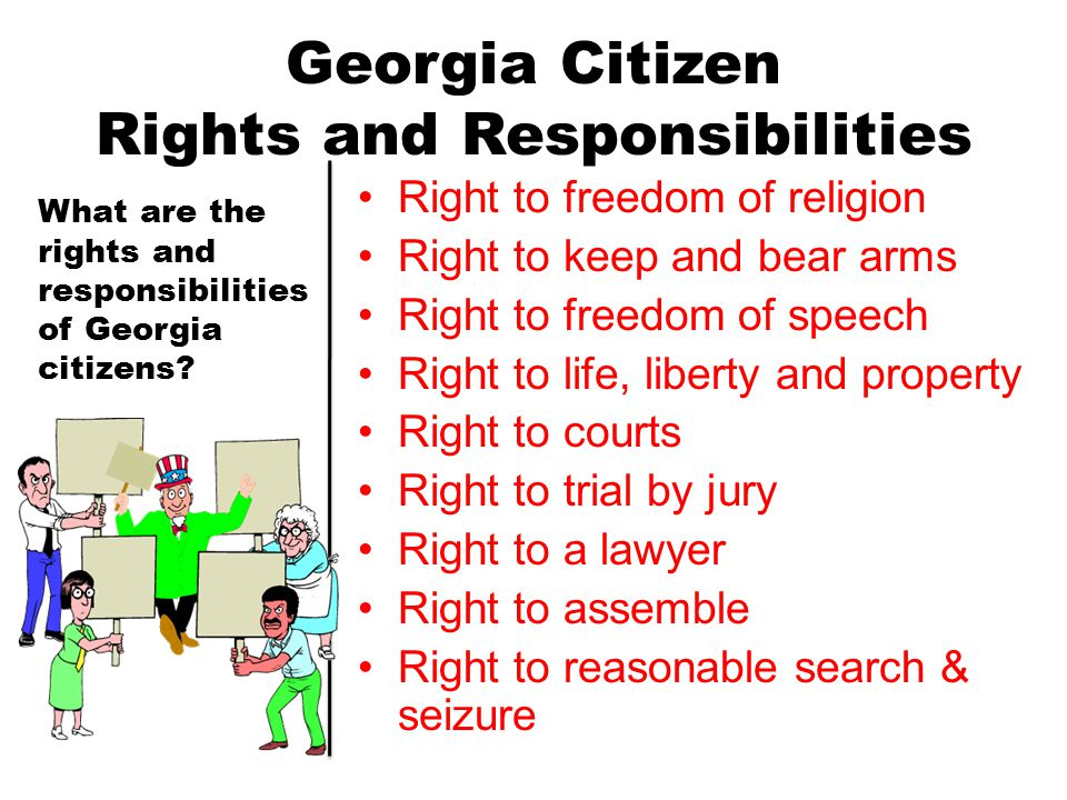 Georgia Citizen Rights and Responsibilities Right to freedom of religion Right to keep and bear arms Right to freedom of speech Right to life, liberty