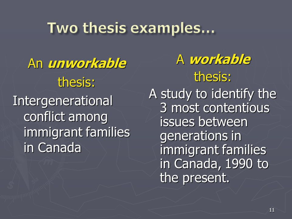 11 An unworkable thesis: Intergenerational conflict among immigrant families in Canada A workable thesis: A study to identify the 3 most contentious i