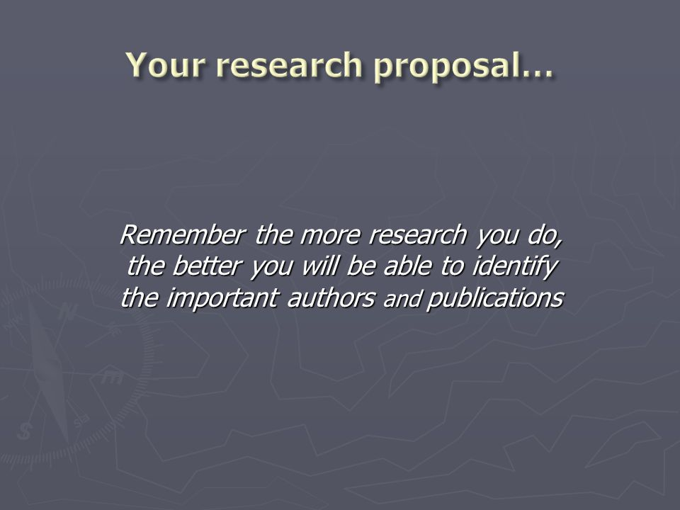 Remember the more research you do, the better you will be able to identify the important authors and publications