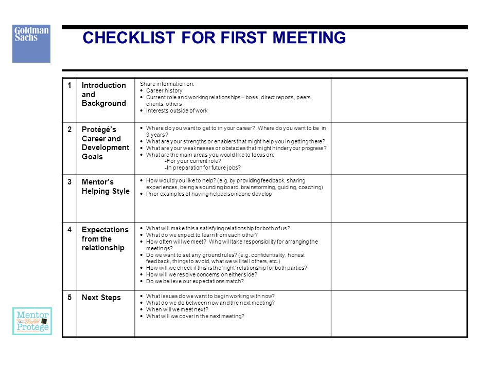 CHECKLIST FOR FIRST MEETING 1Introduction and Background Share information on:  Career history  Current role and working relationships – boss, direct reports, peers, clients, others  Interests outside of work 2Protégé's Career and Development Goals  Where do you want to get to in your career.