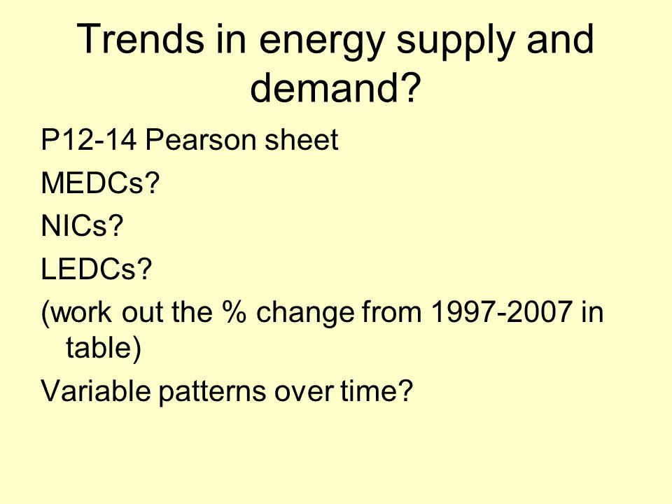 Trends in energy supply and demand? P12-14 Pearson sheet MEDCs? NICs? LEDCs? (work out the % change from 1997-2007 in table) Variable patterns over ti