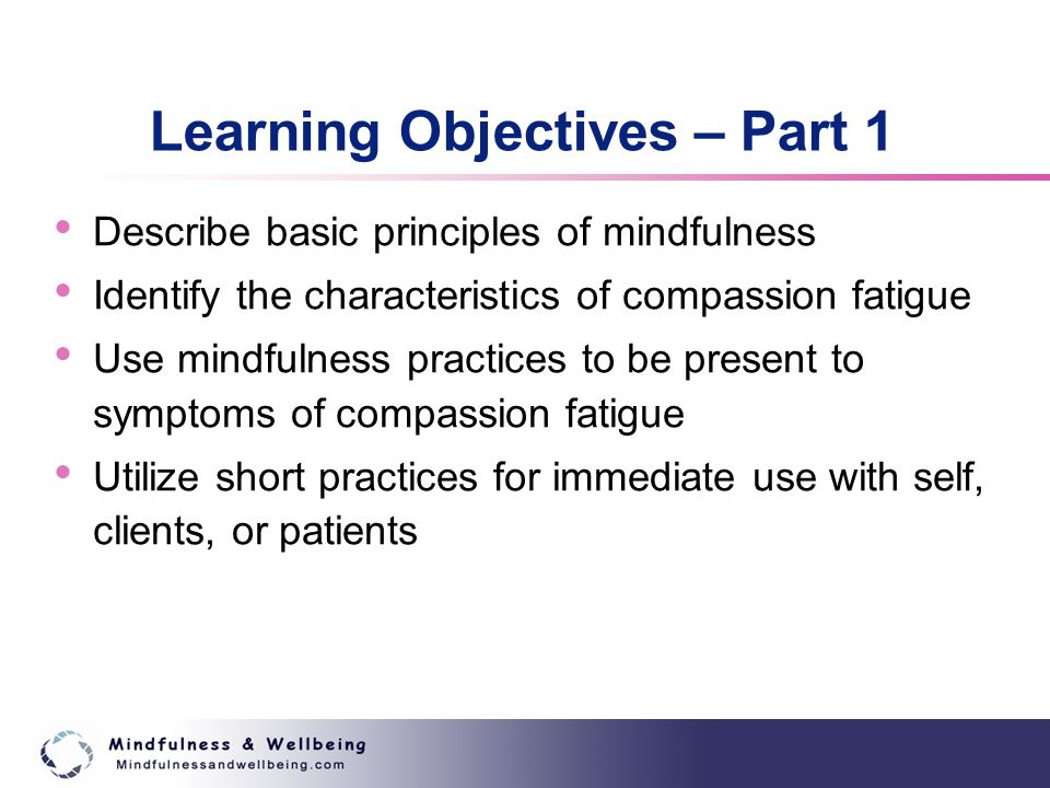 Learning Objectives – Part 1 Describe basic principles of mindfulness Identify the characteristics of compassion fatigue Use mindfulness practices to be present to symptoms of compassion fatigue Utilize short practices for immediate use with self, clients, or patients