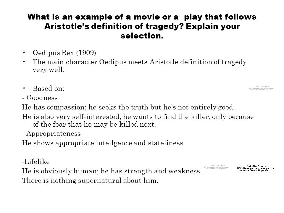 What is an example of a movie or a play that follows Aristotle's definition of tragedy.