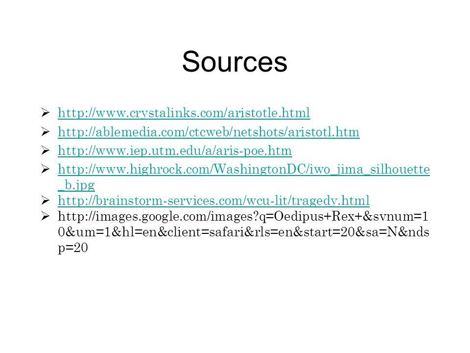 Sources  http://www.crystalinks.com/aristotle.html http://www.crystalinks.com/aristotle.html  http://ablemedia.com/ctcweb/netshots/aristotl.htm http
