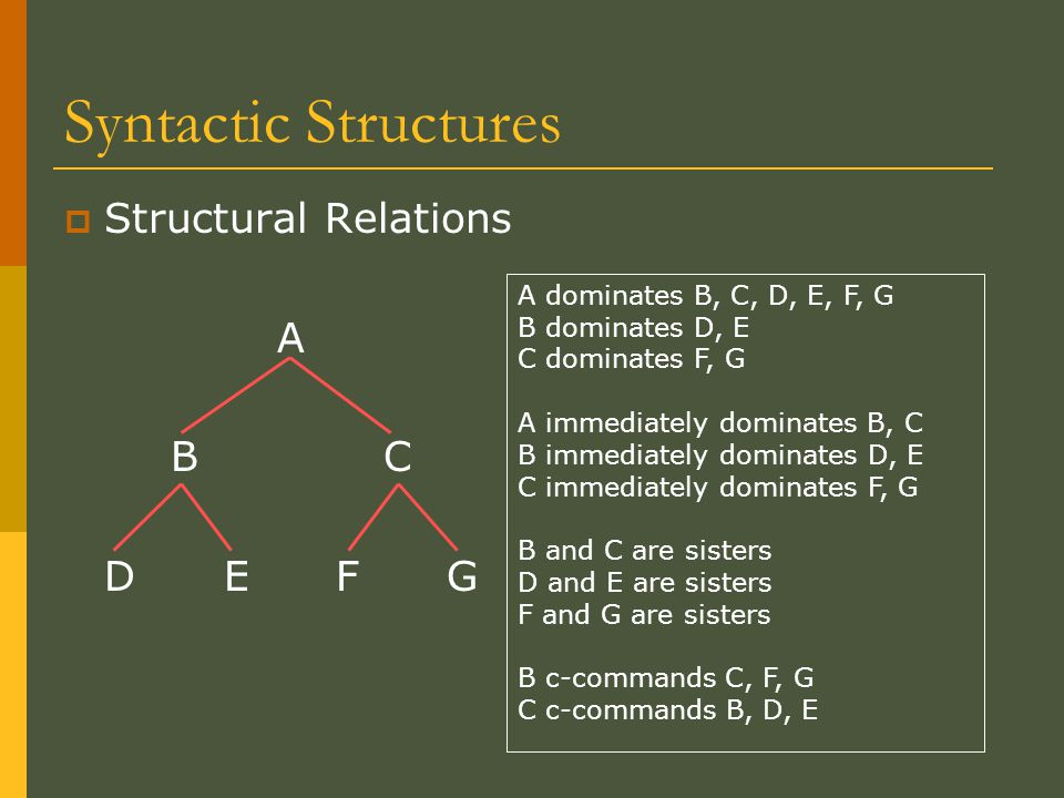 Syntactic Structures  Structural Relations A BC D E F G A dominates B, C, D, E, F, G B dominates D, E C dominates F, G A immediately dominates B, C B immediately dominates D, E C immediately dominates F, G B and C are sisters D and E are sisters F and G are sisters B c-commands C, F, G C c-commands B, D, E