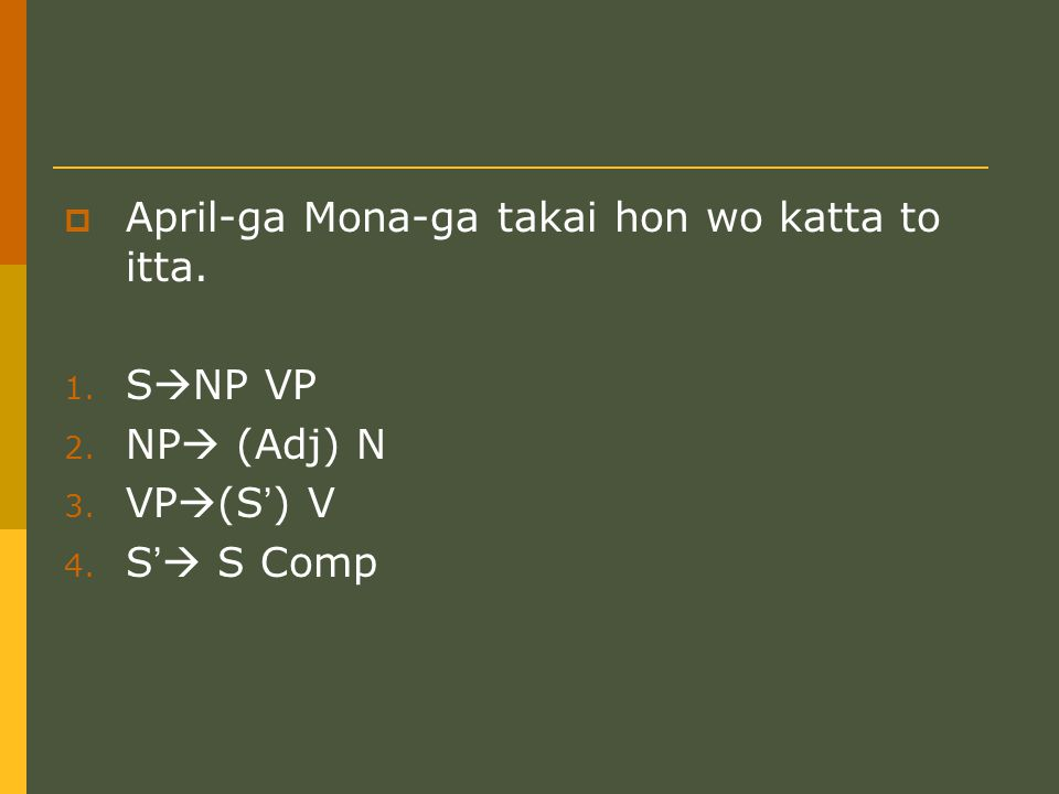  April-ga Mona-ga takai hon wo katta to itta. 1.