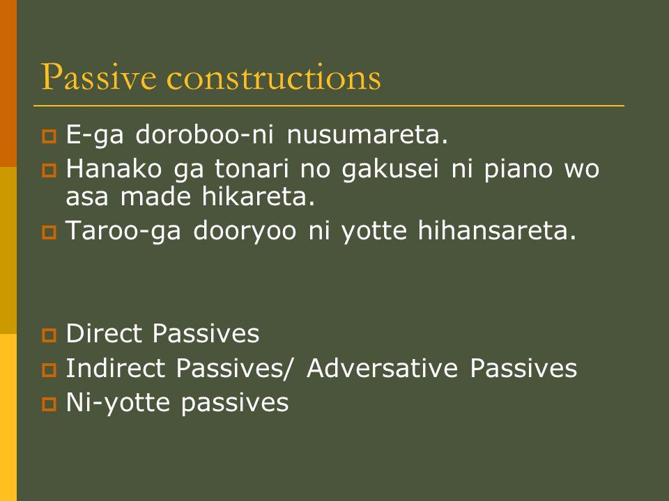 Passive constructions  E-ga doroboo-ni nusumareta.