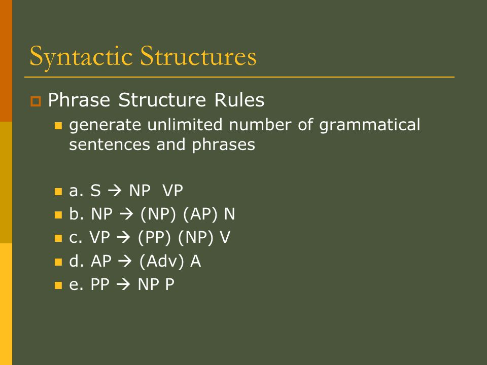 Syntactic Structures  Phrase Structure Rules generate unlimited number of grammatical sentences and phrases a.