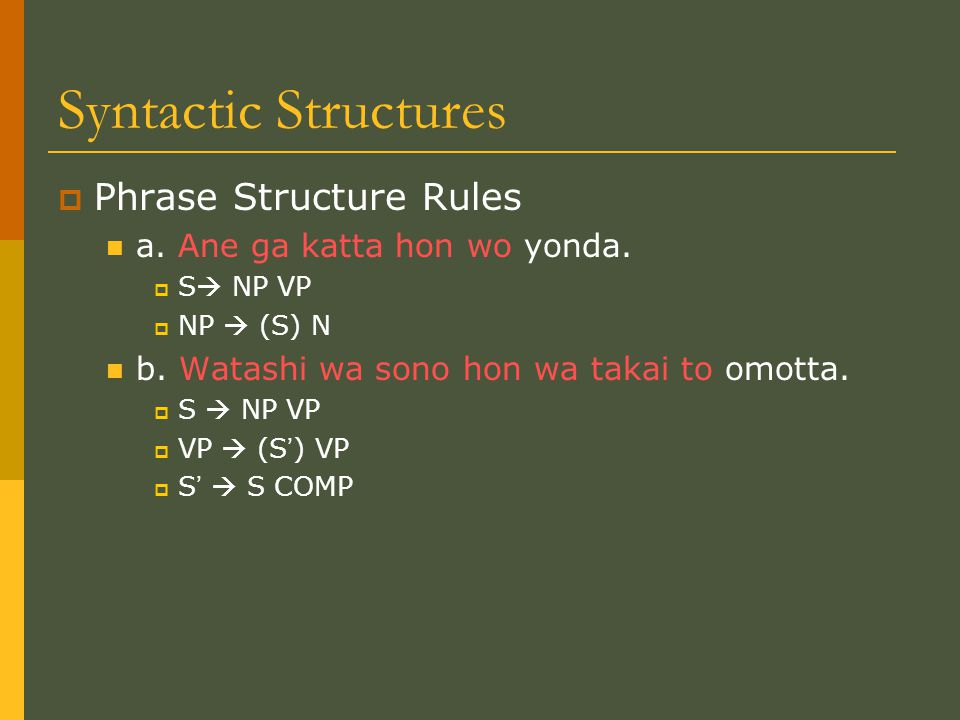Syntactic Structures  Phrase Structure Rules a. Ane ga katta hon wo yonda.