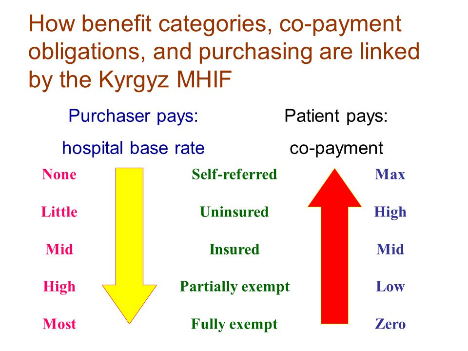 How benefit categories, co-payment obligations, and purchasing are linked by the Kyrgyz MHIF Self-referred Uninsured Insured Partially exempt Fully ex