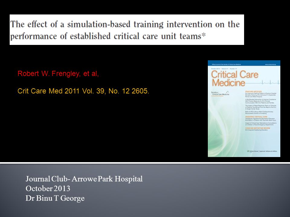 Journal Club- Arrowe Park Hospital October 2013 Dr Binu T George Robert W.