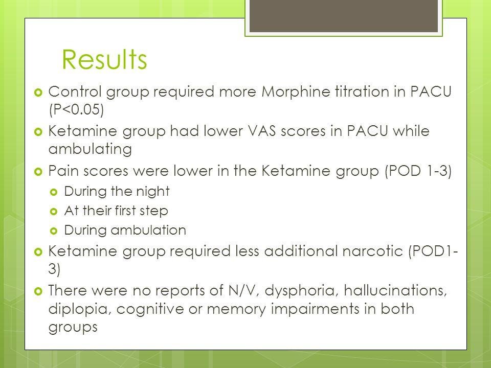 Results  Control group required more Morphine titration in PACU (P<0.05)  Ketamine group had lower VAS scores in PACU while ambulating  Pain scores were lower in the Ketamine group (POD 1-3)  During the night  At their first step  During ambulation  Ketamine group required less additional narcotic (POD1- 3)  There were no reports of N/V, dysphoria, hallucinations, diplopia, cognitive or memory impairments in both groups