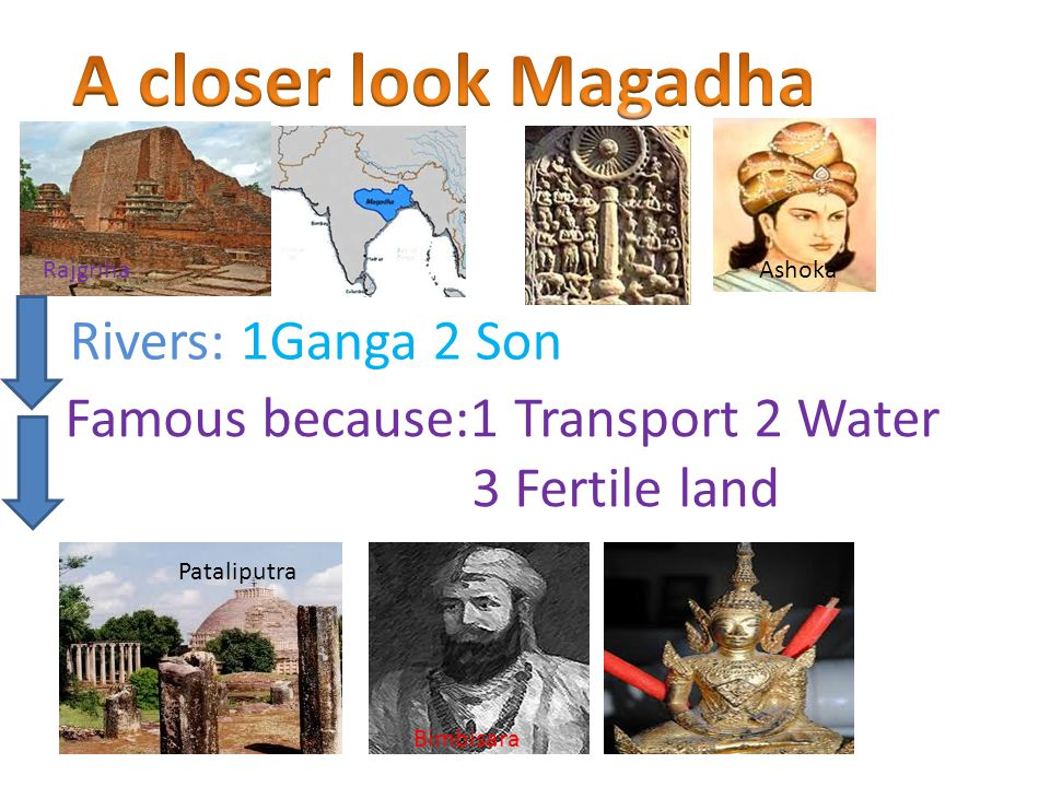 Rivers: 1Ganga 2 Son Famous because:1 Transport 2 Water 3 Fertile land Rajgriha Ashoka Pataliputra Bimbisara