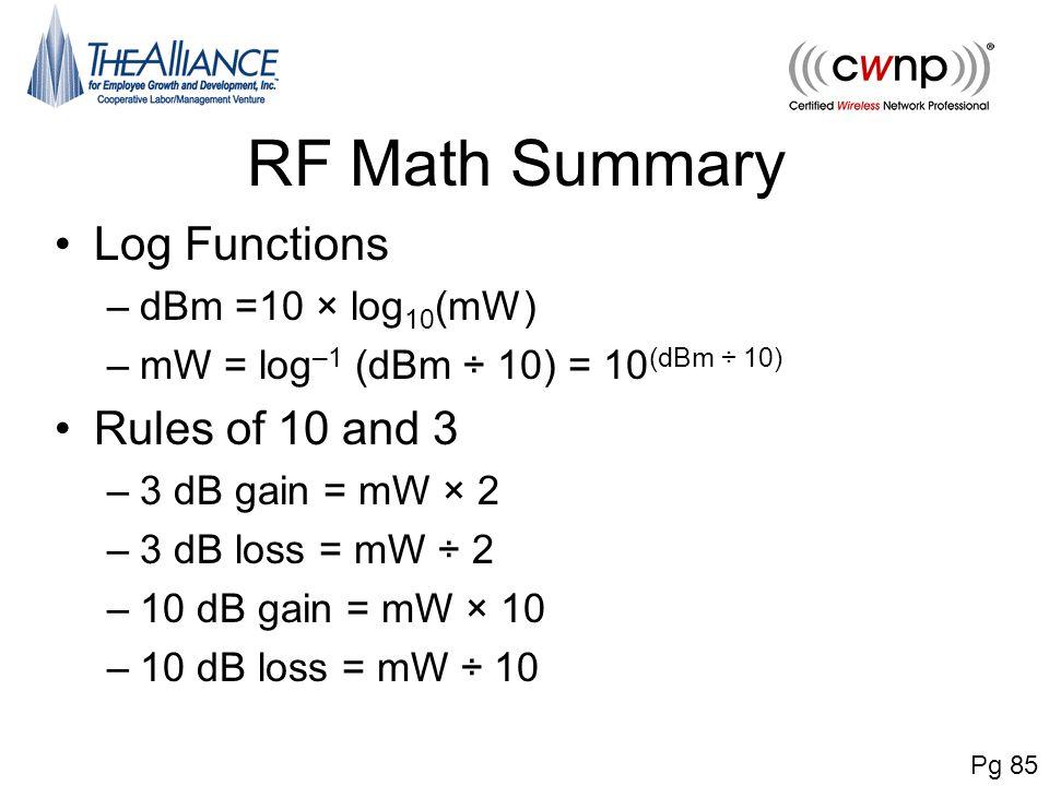 RF Math Summary Log Functions –dBm =10 × log 10 (mW) –mW = log –1 (dBm ÷ 10) = 10 (dBm ÷ 10) Rules of 10 and 3 –3 dB gain = mW × 2 –3 dB loss = mW ÷ 2