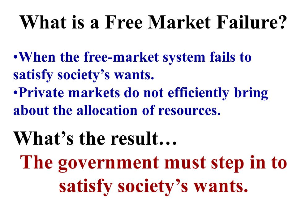 What is the Free Market? A economic structure where supply and demand allocate resources. There is little to no government intervention. What is the I