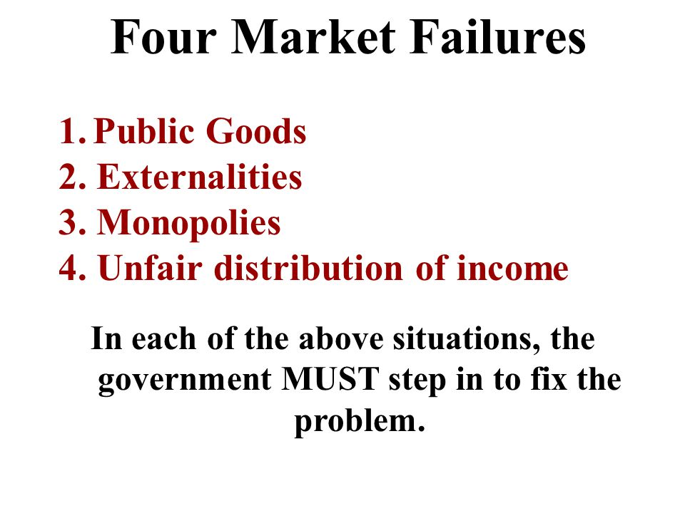 What is a Free Market Failure? When the free-market system fails to satisfy society's wants. Private markets do not efficiently bring about the alloca