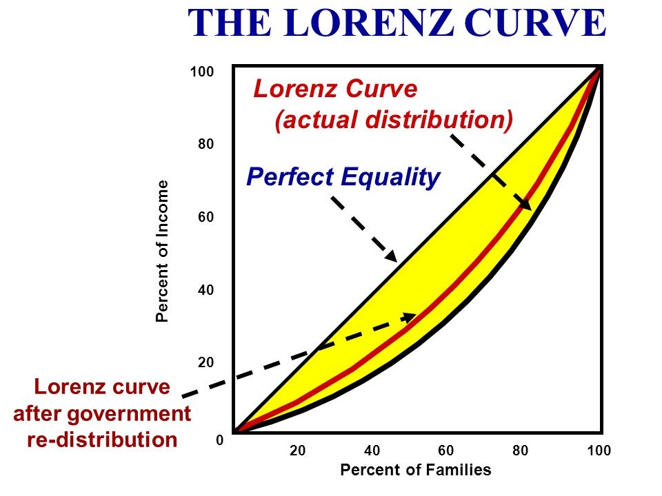 20 40 60 80 100 100 80 60 40 20 0 Percent of Families Percent of Income Perfect Equality Lorenz Curve (actual distribution) THE LORENZ CURVE We have a
