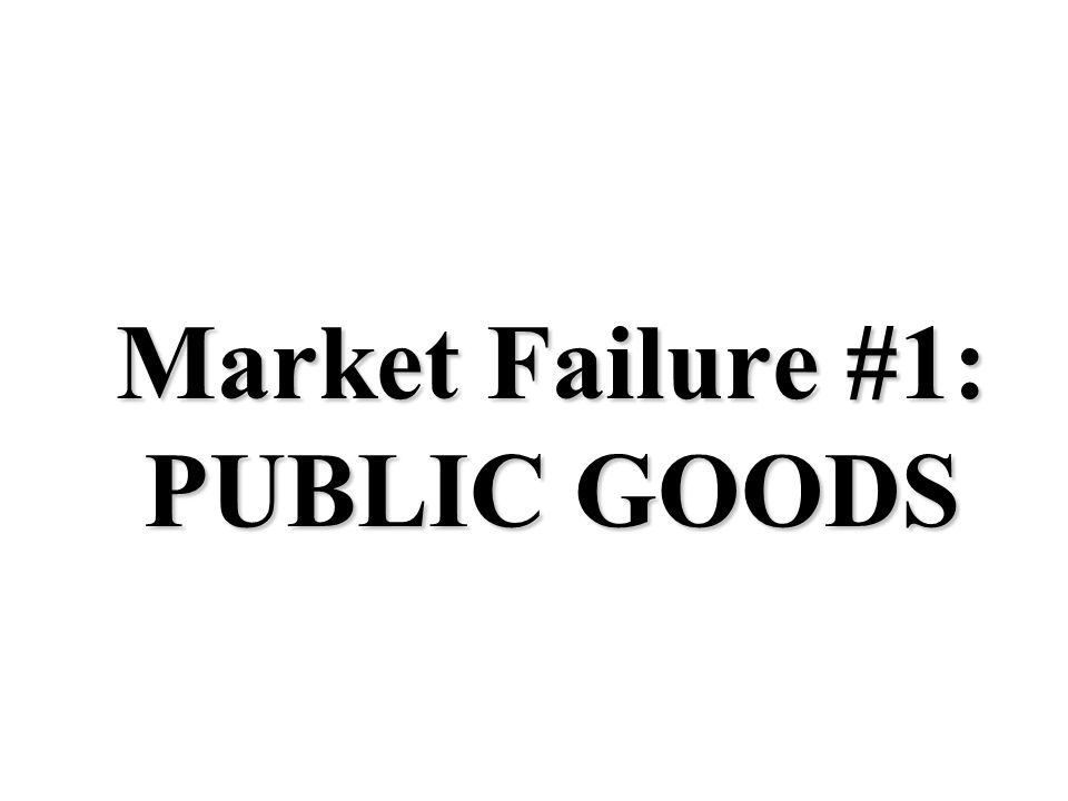 Four Market Failures 1.Public Goods 2. Externalities 3. Monopolies 4. Unfair distribution of income In each of the above situations, the government MU
