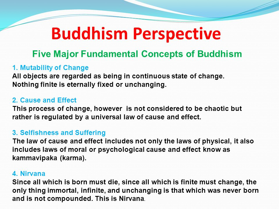 Buddhism Perspective Five Major Fundamental Concepts of Buddhism 1.