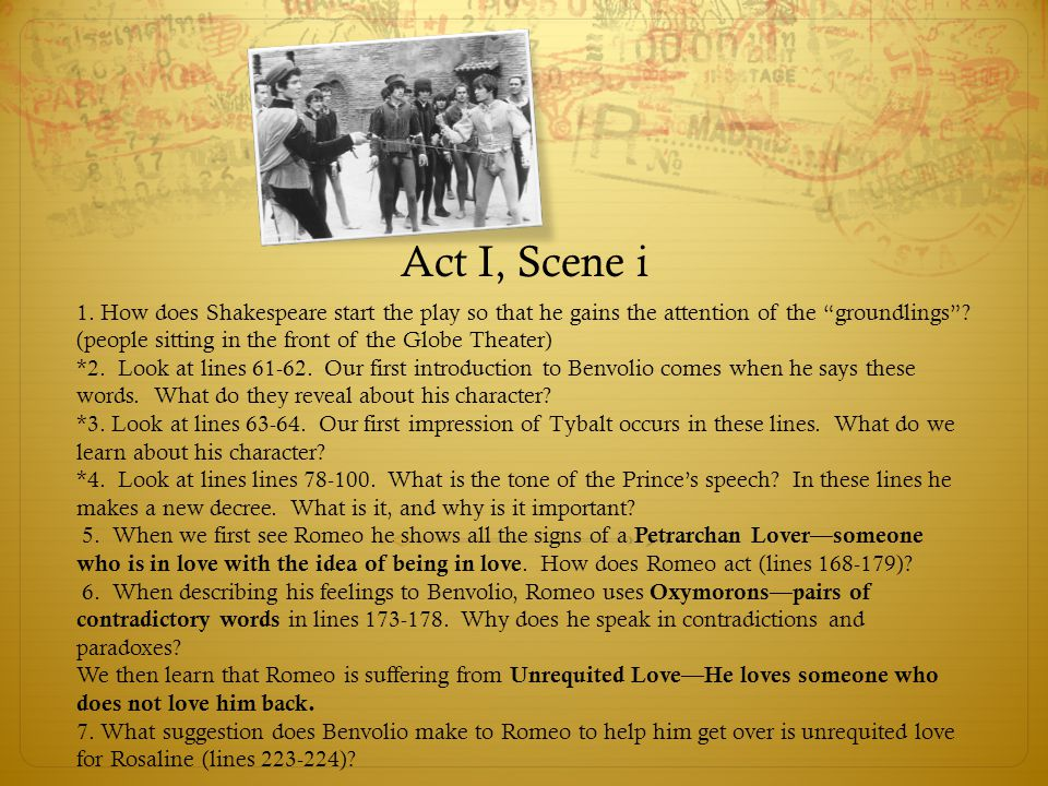"""Act I, Scene i 1. How does Shakespeare start the play so that he gains the attention of the """"groundlings""""? (people sitting in the front of the Globe T"""