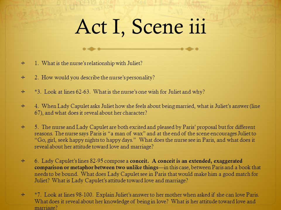 Act I, Scene iii  1. What is the nurse's relationship with Juliet?  2. How would you describe the nurse's personality?  *3. Look at lines 62-63. Wh