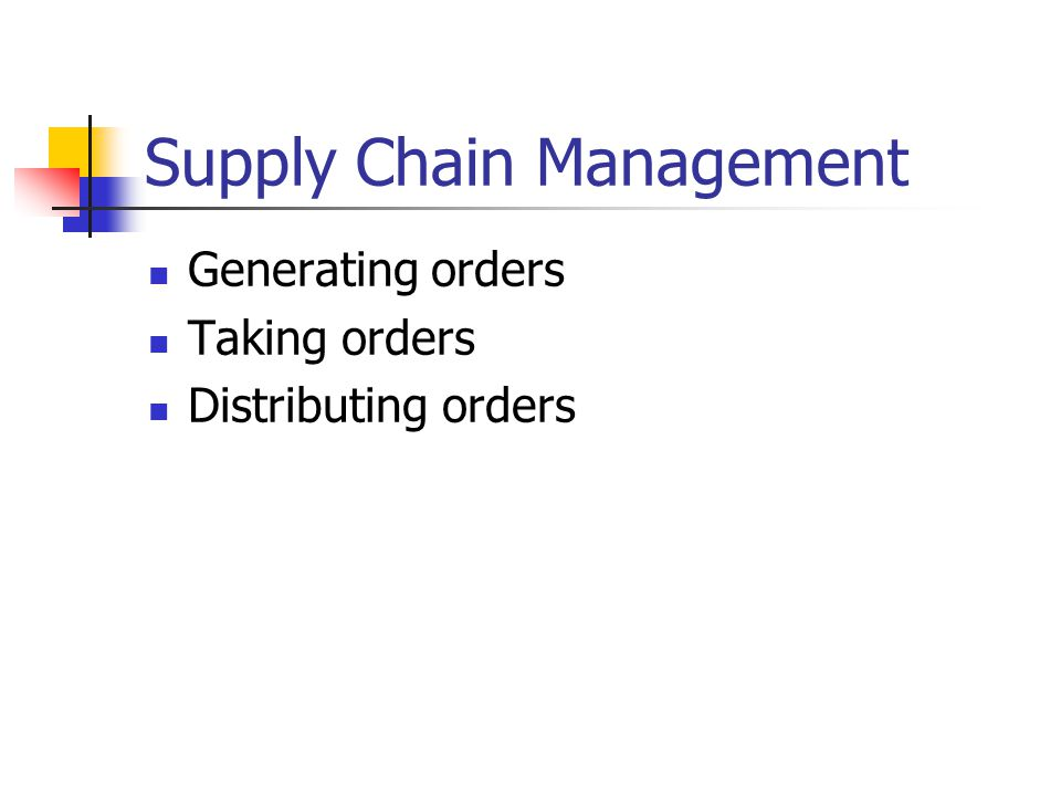 Supply Chain Management Generating orders Taking orders Distributing orders