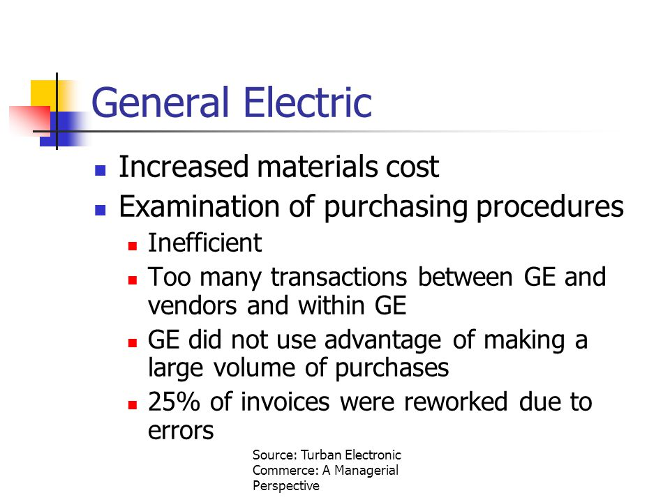 Source: Turban Electronic Commerce: A Managerial Perspective General Electric Increased materials cost Examination of purchasing procedures Inefficient Too many transactions between GE and vendors and within GE GE did not use advantage of making a large volume of purchases 25% of invoices were reworked due to errors