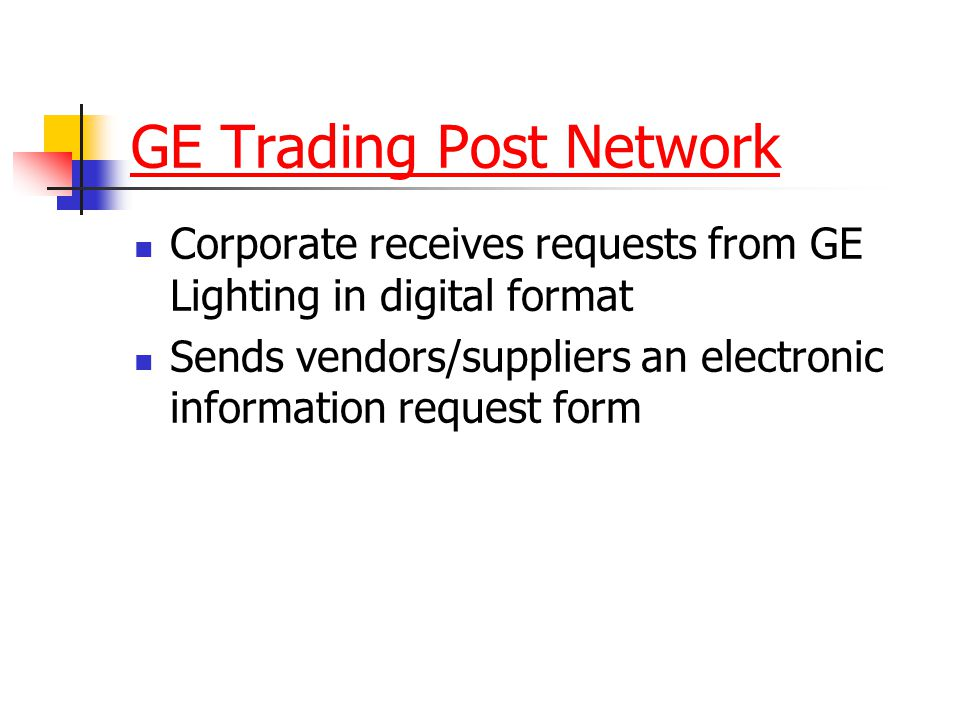 GE Trading Post Network Corporate receives requests from GE Lighting in digital format Sends vendors/suppliers an electronic information request form