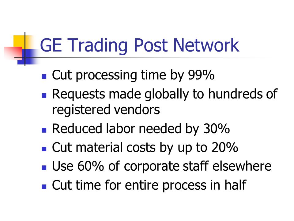 GE Trading Post Network Cut processing time by 99% Requests made globally to hundreds of registered vendors Reduced labor needed by 30% Cut material costs by up to 20% Use 60% of corporate staff elsewhere Cut time for entire process in half