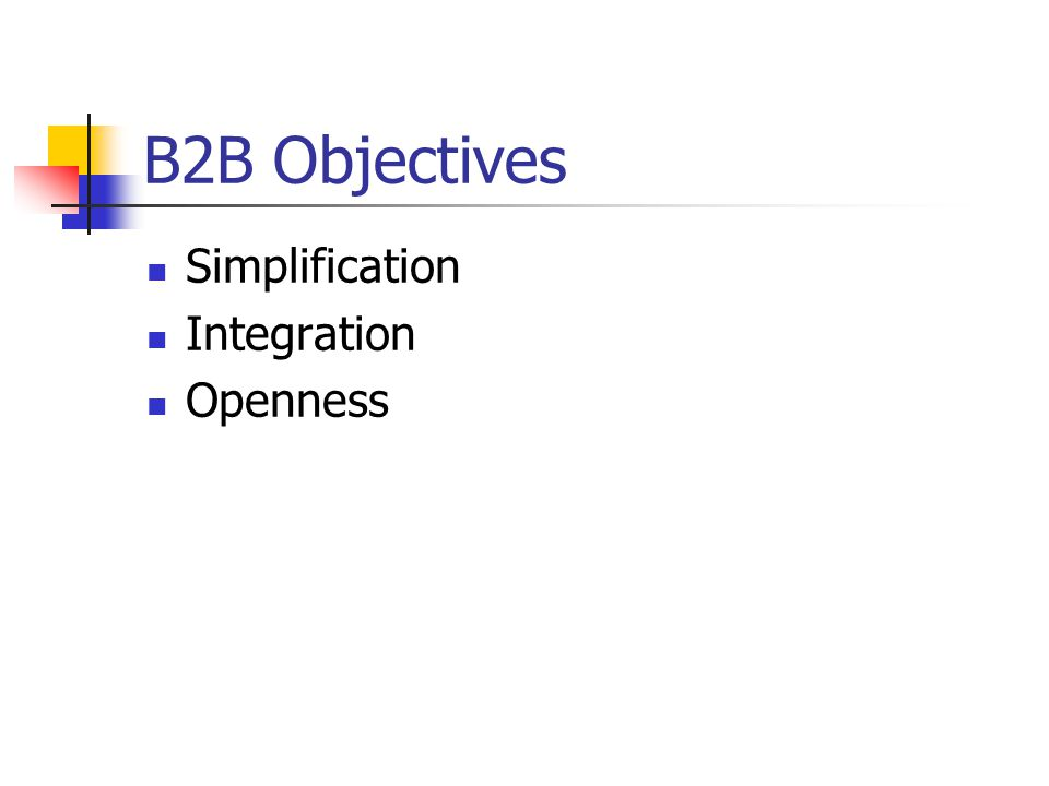 B2B Objectives Simplification Integration Openness