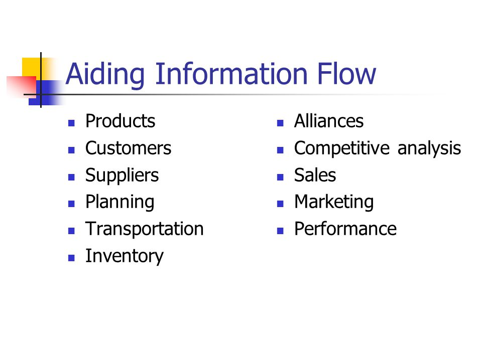 Aiding Information Flow Products Customers Suppliers Planning Transportation Inventory Alliances Competitive analysis Sales Marketing Performance